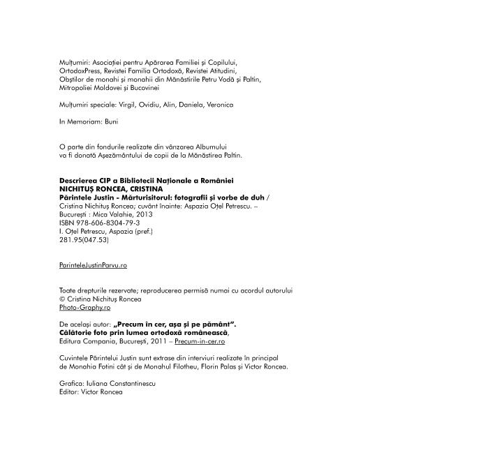 Parintele Justin Marturisitorul ISBN