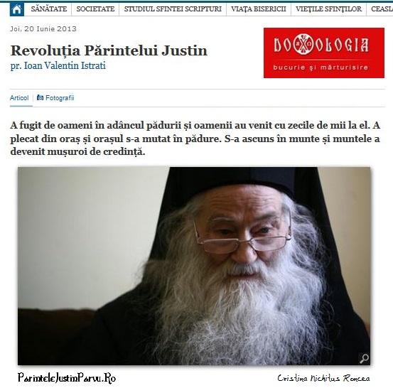 Parintele Justin Parvu de Cristina Nichitus Roncea la Doxologia