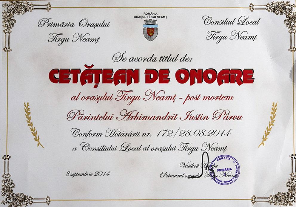 Diploma  Parintele Justin Parvu Cetatean de Onoare Targu Neamt