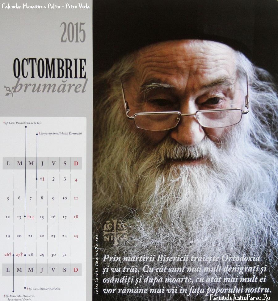 Parintele Justin Parvu - Calendar Octombrie - Foto Cristina Nichitus Roncea