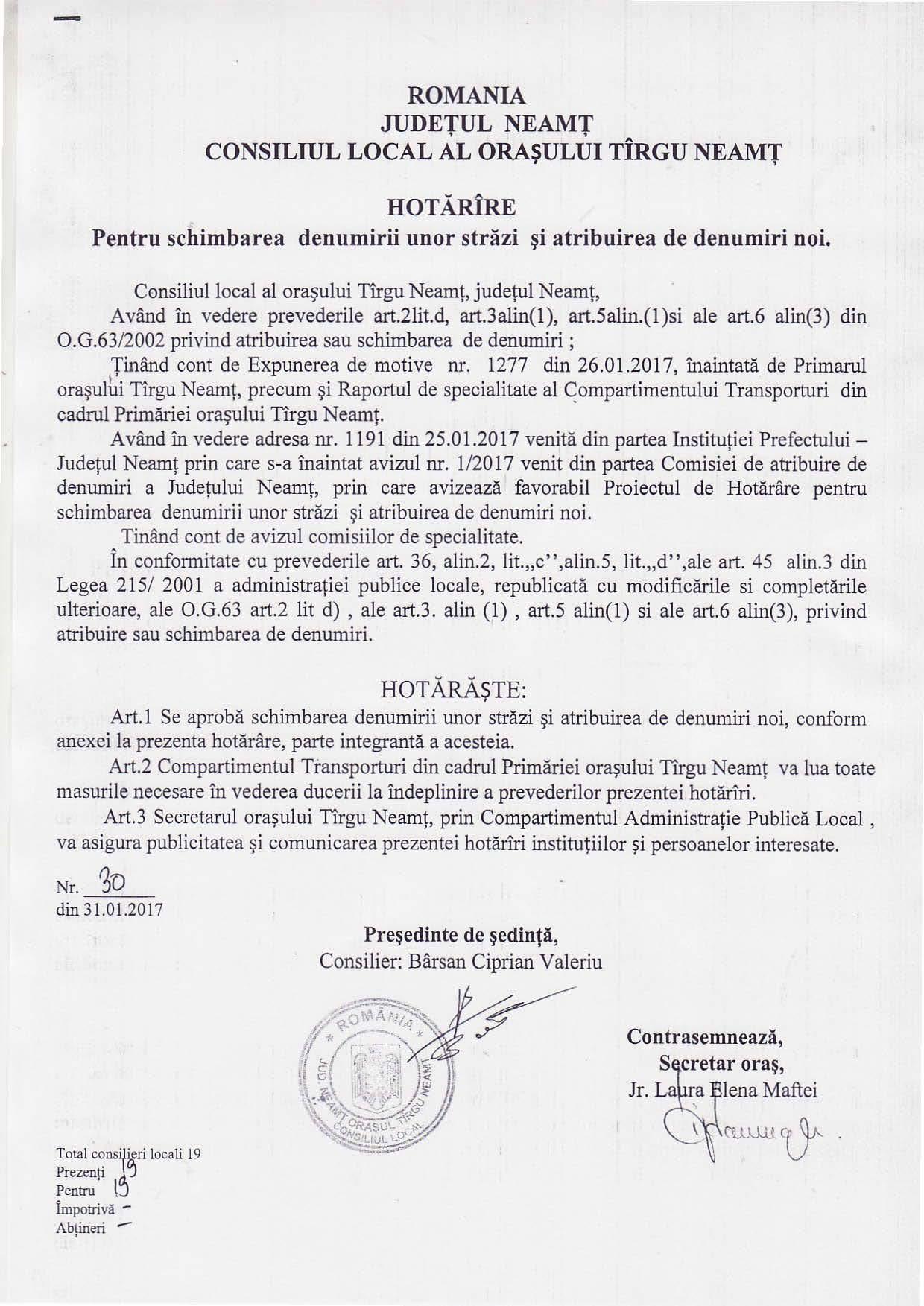 HCL-30-din-31.01.2017_Parintele Justin Parvu Targu Neamt Strada