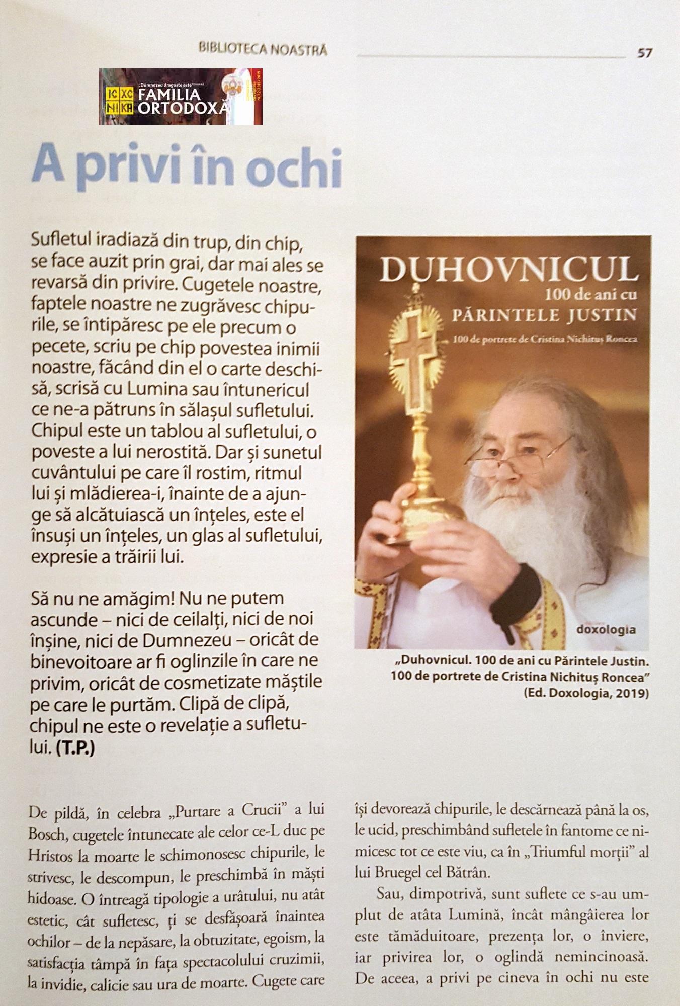 Parintele Justin Parvu - Duhovnicul - Cristina Nichitus Roncea - Familia Ortodoxa 12 - 2020 - 1